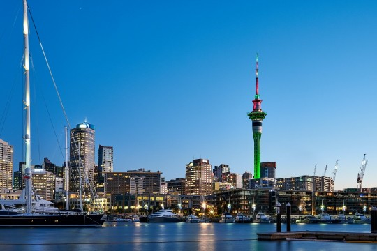 A view of Auckland's Viaduct Harbour from the waterfront.