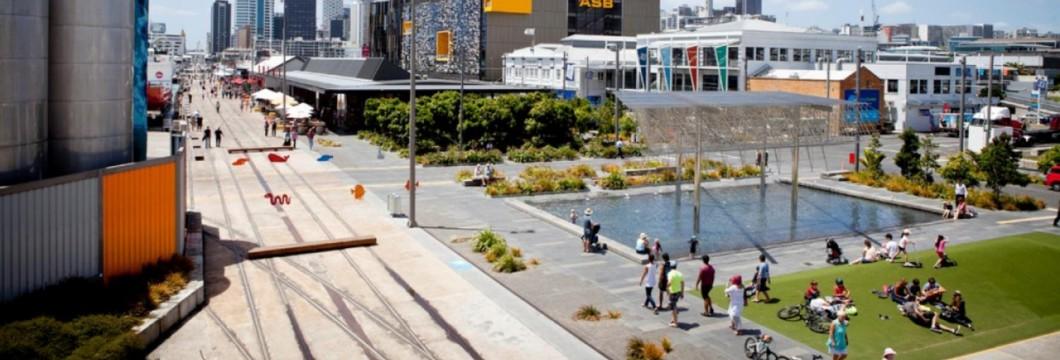 View of Wynyard Quarter development in Auckland